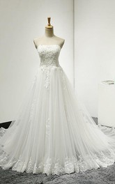 Strapless Lace and Tulle Dress With Lace-Up Back