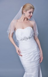 Two Tier Scallop Edge Beaded Trim Mid Length Veil