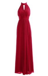 High-neck Long Dress With Ruching and Key-hole Back