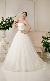 Strapless Floor-length Ball Gown Crystal Decorated Waist Tulle Dress