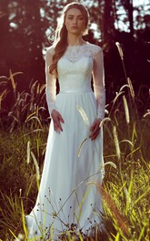 Sheath Long-Sleeve Jewel-Neck Chiffon Wedding Dress With Illusion