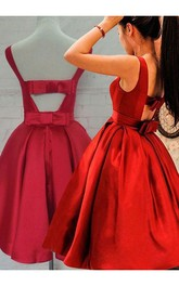 Ball Gown Sleeveless Satin Open Back Tea-length Homecoming Dress