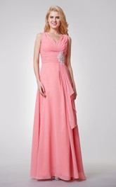 Sleeveless Ruched Long Chiffon Dress With Side Draping