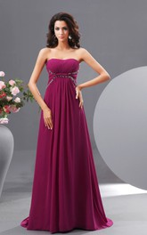 Graceful Empire Sweetheart Chiffon A-Line Gown With Sequins and Pleats