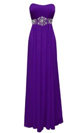 Strapless Empire Chiffon Gown With Beaded Waist
