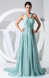 Side Illusion V-Neck Sweetheart Ruched Gown With Pleats and Zipper Back