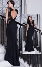 Sheath Floor-Length Lace Sleeveless Bateau Chiffon Prom Dress With Keyhole Back