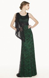 Scoop Neck Sheath Long Allover Lace Prom Dress With Shoulder Side Drape