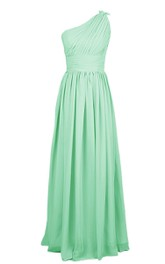 One-shoulder Pleated Chiffon A-line Gown With Ruched Band