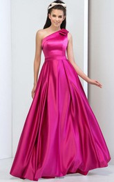 A-Line One-Shoulder Ruches Long Prom Dress