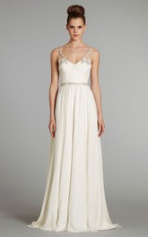Delicate Sleeveless Draped Bodice Long Gown With Floral Beaded Straps