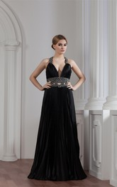 Plunged Maxi A-Line Keyhole and Gown With Beading