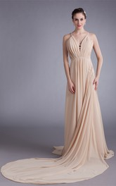 Unique Sleeveless a Line Strapped Chiffon Satin Special Occasion Dresses