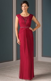 Cap-Sleeved Long Pleated Mother Of The Bride Dress With Crystal Illusion Back