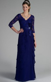 Sheath 3-4-Sleeve Floor-Length V-Neck Draped Lace&Chiffon Mother Of The Bride Dress With Broach