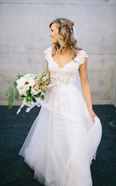 Romantic V-neck White Tulle Princess Wedding Dress Lace Bowknot
