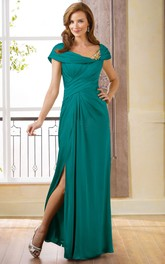 Cap-Sleeved Long Gown With Side Slit And Jeweled Neck
