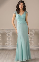 V-Neck Cap-Sleeved Long Mother Of The Bride Dress With Pleats And Appliques