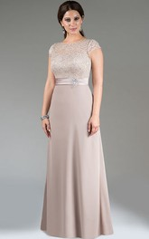 Scoop Neck Cap Sleeve A-Line Long Mother Of The Bride Dress With Lace Top And Crystal Waist