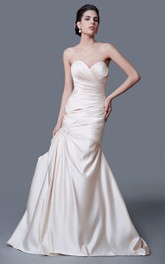 Ethereal Strapless Taffeta Mermaid Dress With Brooch