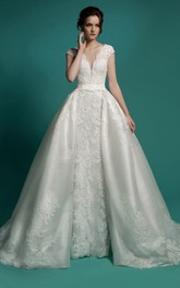 Mermaid Floor-Length V-Neck Cap-Sleeve Zipper Lace Dress With Sash And Detachable Train
