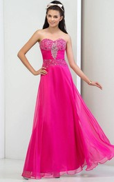 A-Line Sweetheart Pleats Sequins Prom Dress
