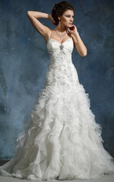 A-Line Long Sleeveless Cascading-Ruffle Spaghetti Organza Wedding Dress With Broach And Beading