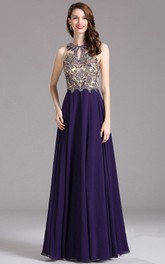 Empire High-Neck Sleeveless Empire Chiffon Beading Illusion Dress