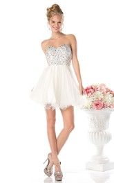 A-Line Short Sweetheart Sleeveless Backless Dress With Beading And Ruffles