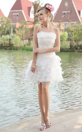 Organza Strapless Short Dress With Tiered Ruffles