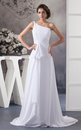 One-Shoulder Ruched Chiffon Sweep Train and Dress With Bow