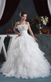 Strapless A-Line Ruffled Jeweled Waist and Gown With Tiers