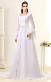 Gossamery Chiffon Maxi Dress With Illusion Sleeve and Jeweled Waist
