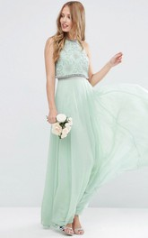 Ankle-Length Sleeveless Jewel Neck Beaded Chiffon Bridesmaid Dress With Pleats