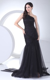 Asymmetrical Ruched Maxi Dress With Beading and Brush Train