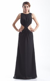 Sleeveless Floor-Length Central Ruching and Dress With Keyhole