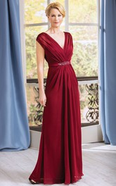 Cap-Sleeved V-Neck A-Line Gown With Pleats And V-Back