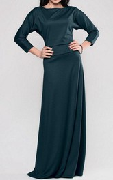 Bateau 3-4 Bat-wing Sleeve A-line Jersey Long Dress With Pleats