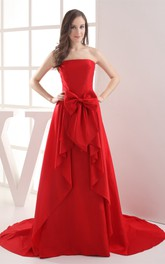 Sleeveless Chiffon Floor-Length A-Line Bow and Dress With Draping