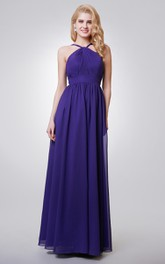 Halter A-line Long Chiffon Dress With Key-hole