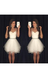 Sweetheart Beaded Spaghetti Straps Short Organza Dress