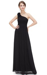 One Shoulder Ruched Chiffon Long Dress With Zipper Back