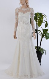 Mermaid Long Sleeve Lace Dress With Illusion Back and Beaded Flowers