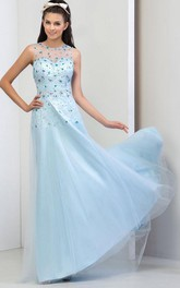 Sheer Neck Beaded Sequins Open Back Prom Dress