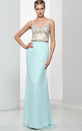 Sheath Spaghetti Straps Beading Hollow Evening Dress