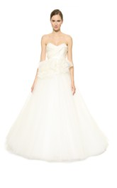 Long Sweetheart Ballgown Organza Dress With Ruffles
