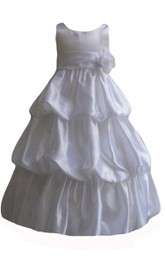 Sleeveless A-line Taffeta Dress With Flower and Ruffles
