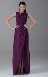 Sleeveless Front-Split Chiffon Beading and Dress With Ruching