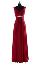 V-neckline Pleated Long Dress With Ruching and Beading