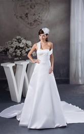 Satin A-Line Single-Strap Court Train and Gown With Appliques